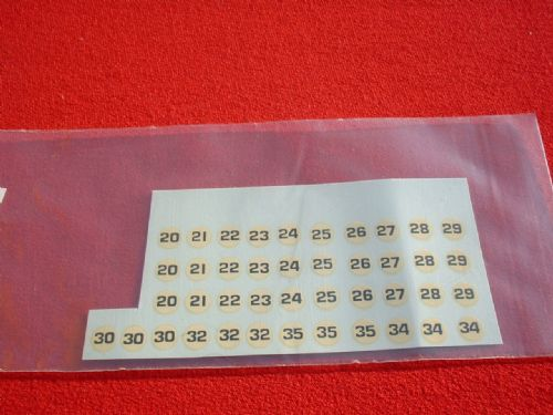14 Different sets of 3 racing numbers for racing cars like Dinky BRM / Lotus and other makes TRANSFERS / DECALS